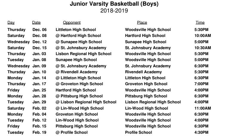 JV Boys Basketball Schedule - WHS - Woodsville High School